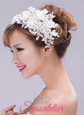 cerchietto sposa online con applicazioni di fiori