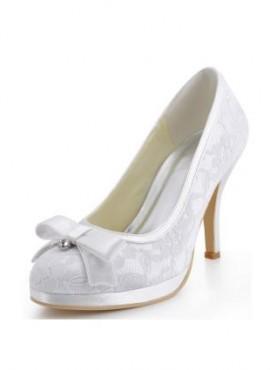 Scarpe da Sposa in Pizzo online economiche con fiocco