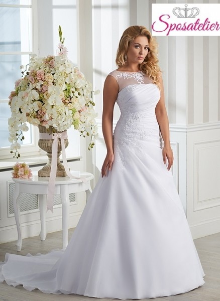 vestiti da sposa taglie forti semplici con ricami in pizzoSposatelier