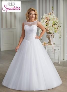 Vestito da Sposa online Economico scollato in tulle con applicazioni di pizzo
