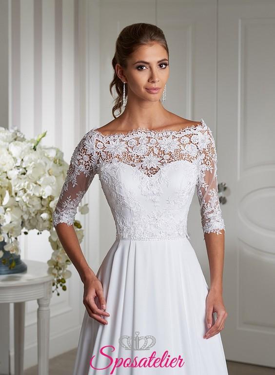 abito da sposa semplice lineare con ricami maniche 3/4Sposatelier