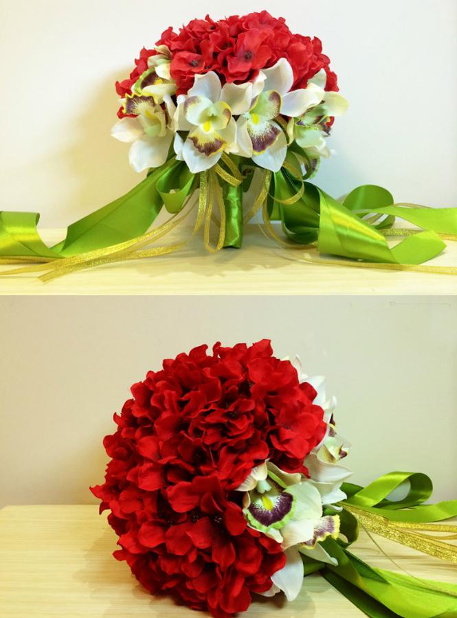 Fiori Ortensie Bianche : Bouquet sposa con orchidee bianche e ortensie rosse fiori