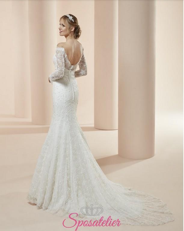 flessia- abiti da sposa a sirena con maniche lunghe e schiena scoperta