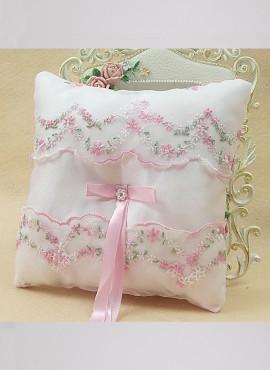 Cuscino Portafedi sposa con ricamo floreale rosa e verde