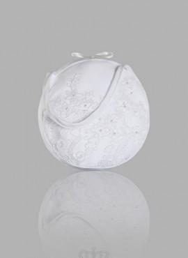 borsa sposa decorata a mano con perline in raso e pizzo
