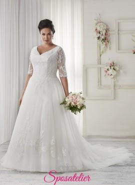 Margharina- abiti da sposa 2017 taglie comode con maniche di pizzo