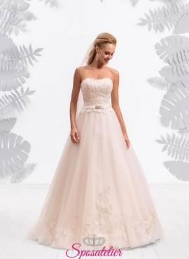 abiti da sposa economici colorato rosa cipria collezione 2017