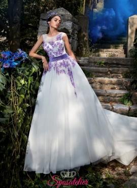 vestiti da sposa con ricami in pizzo color lilla online economici collezione 2017