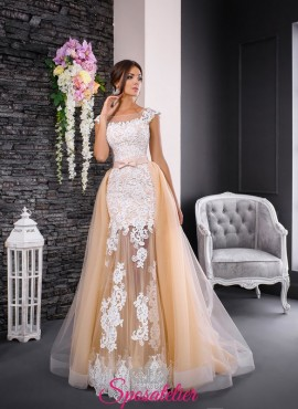 abiti da sposa due in uno a sirena con gonna di tulle con cintura staccabile 2017