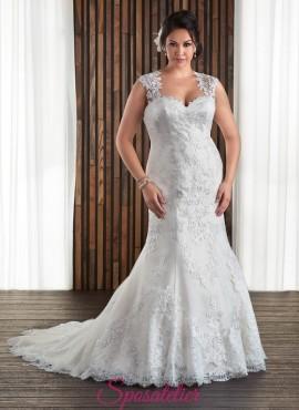 abiti da sposa a sirena con spalline per taglie forti 2017