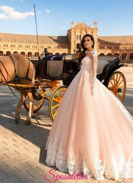 Vincenza abito online pizzo e tulle stile a line italia  principessa ampio colorato rosa tenue con corpetto di pizzo.
