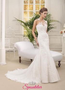 cristal- abito da sposa a sirena aderente ricamato a mano in pizzo scollo a cuore  sartoria italiana nuova collezione 2016