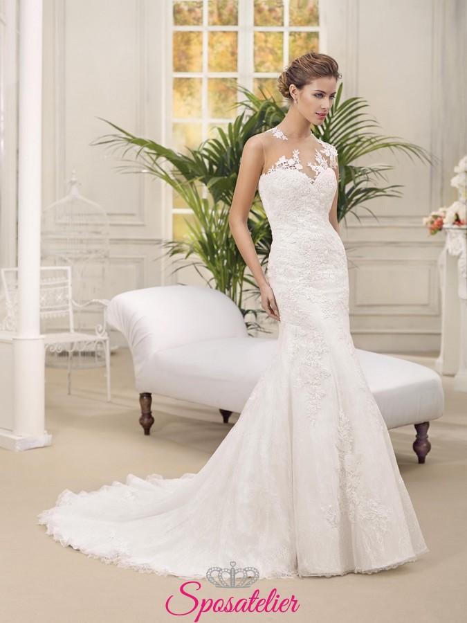 44ab6223e3e1 cristal- abito da sposa a sirena aderente ricamato a mano in pizzo scollo a  cuore