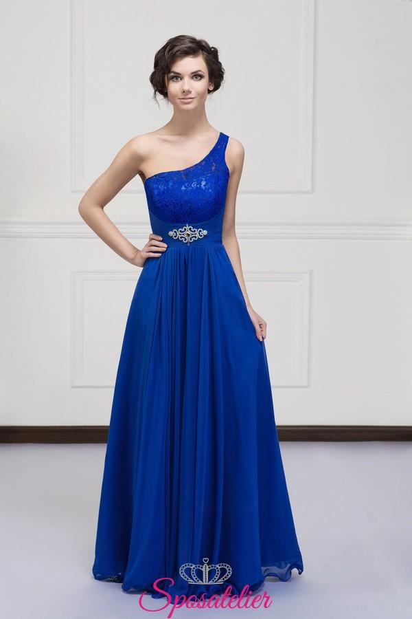 finest selection f85c6 9bd0f Josepha abito damigella d'onore lungo 2017 vendita su internet economico blu