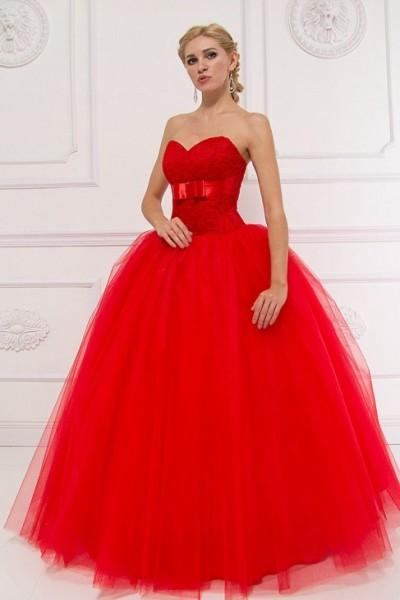 lorella- abito da sposa a palloncino con scollo a cuore corpetto ricamato rosso