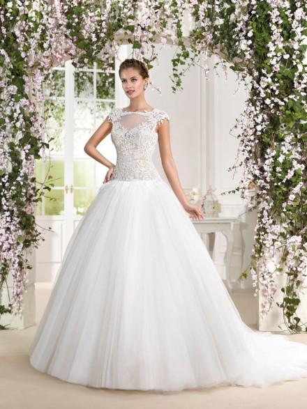 tonia- abito da sposa a palloncino online in tulle pizzo
