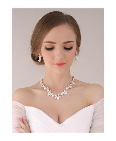 Collana sposa online con orecchini perle e strass