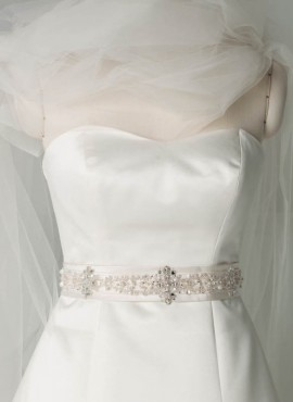cintura abito sposa online raso con diamantini
