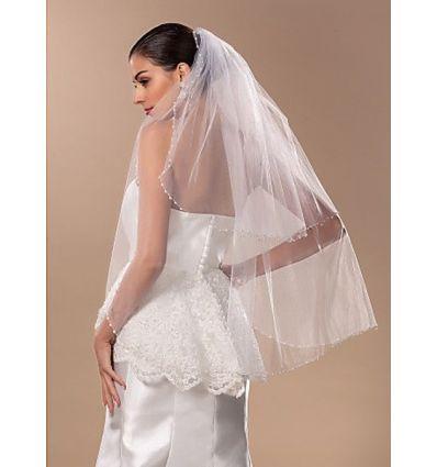 lilia- velo da sposa economico con applicazioni di pailette a due strati in tulle
