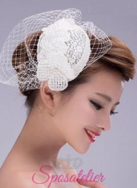 Veletta Sposa  online a rete con fiore di raso