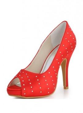 scarpe sposa online rosse con plateau e strass