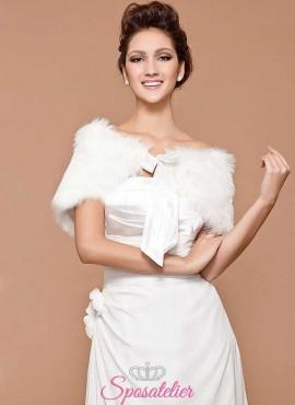 Pelliccia bolero sposa online elegante con fiocco ecologica