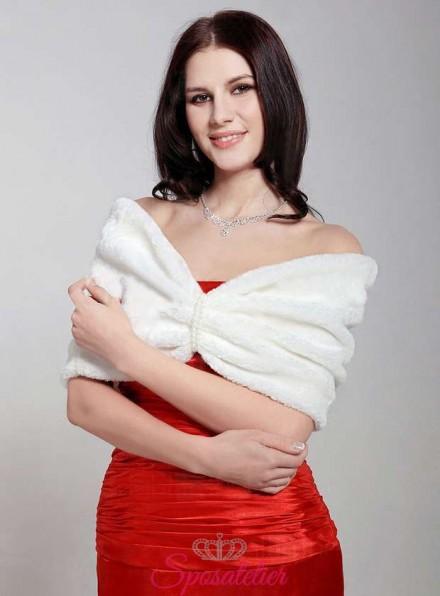 Scialle coprispalle in pelliccia sposa online economico