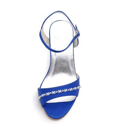 Scarpe sposa blu online economiche Italia tacco medio