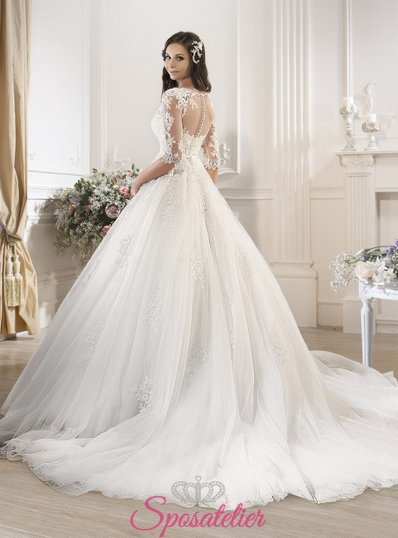 Préférence Ruzda-abiti da sposa online ampio palloncino tulle pizzoSposatelier TM32