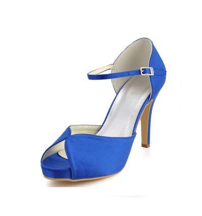 Scarpe sposa blu online economiche Italia tacco alto