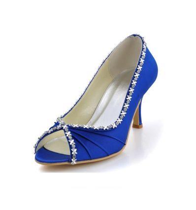 Scarpe sposa blu online economiche open toe Italia tacco medio