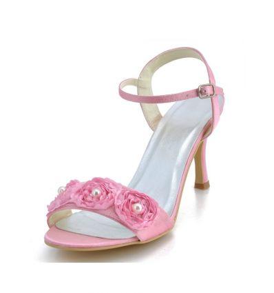 Scarpe da sposa online economiche rosa sandali aperti con roselline