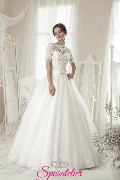 bernada-venditori online vestiti da sposa italia maniche tre quarti e cinturino