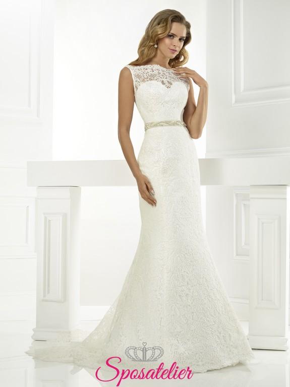 616a77a3d16e PETRia- elegante Abito da Sposa in pizzo giromanica economico online