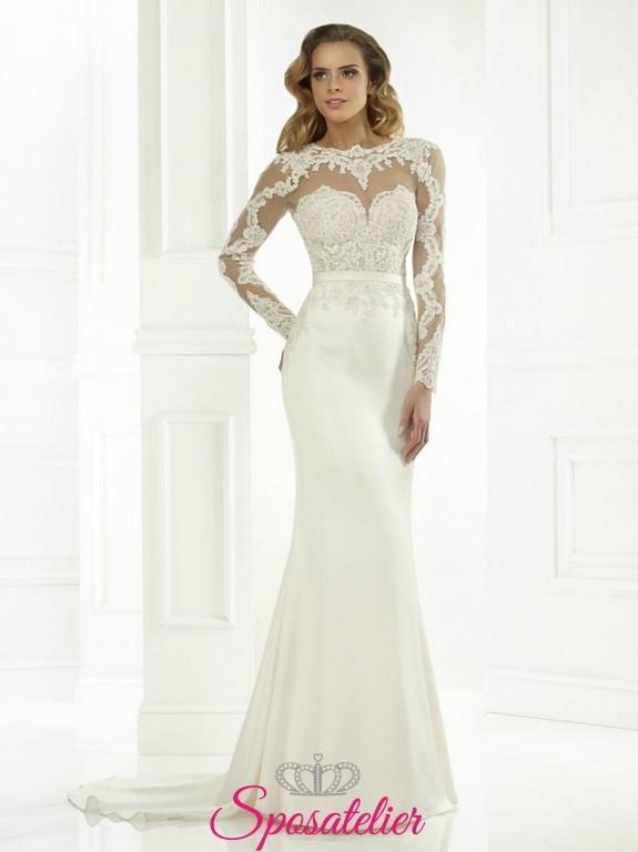 Favori Nicole- elegante Abito da Sposa in pizzo con maniche lunghe online  DF42