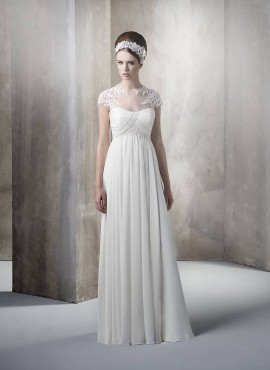 Sheath Empire waist Off the shoulder Cheap Floor length Chiffon Sweetheart Wedding dress