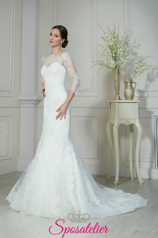 97078d97b283 naima-abiti da sposa online a sirena con scollatura omerale ricamato in  pizzo