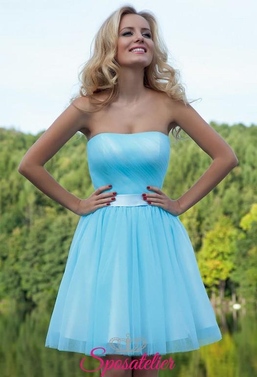 3a719333be18 abiti da cerimonia online siti italiani corto colorato azzurro