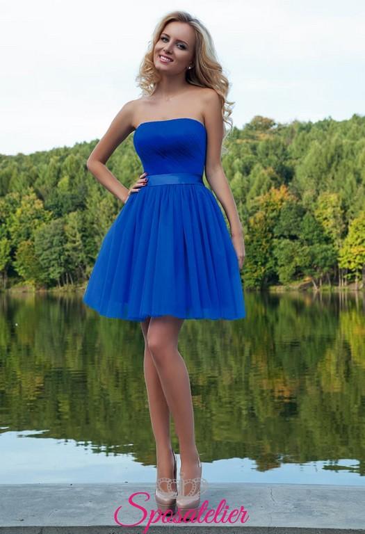 Estremamente abiti da cerimonia online siti italiani corto colorato blu cobalto  YN47