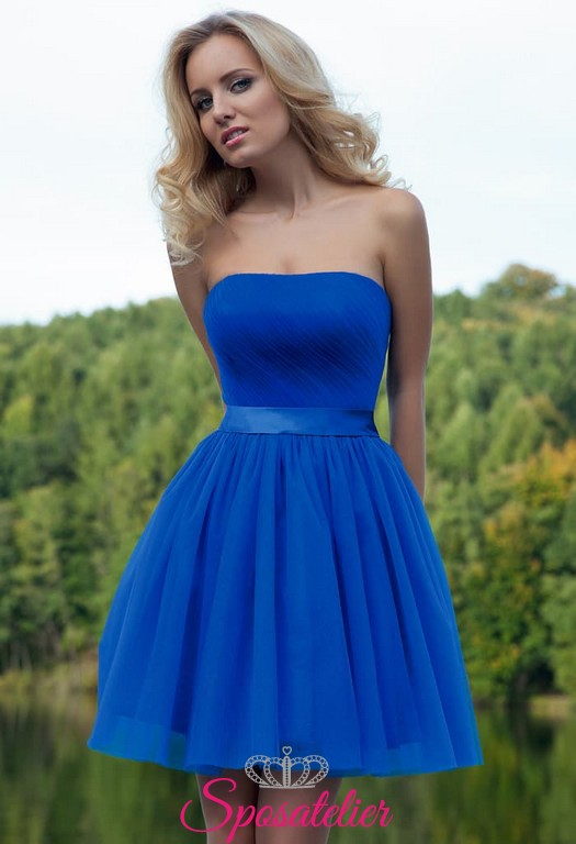 91721e5726ee abiti da cerimonia online siti italiani corto colorato blu cobalto al  ginocchio