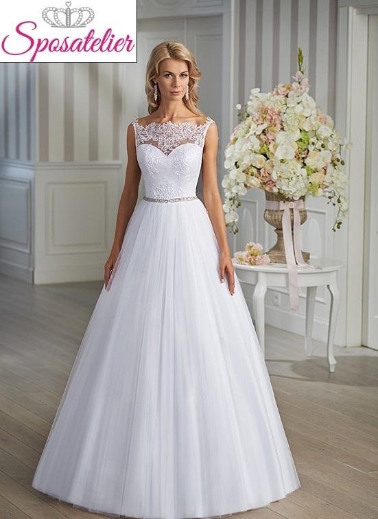 af548d3115f6 ileana-abito da sposa online economico taglio a trapezio cintura con punti  luce
