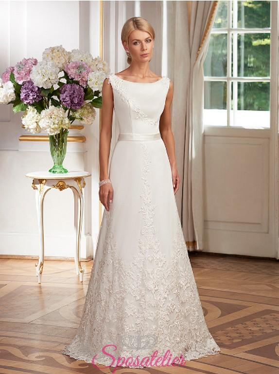 Eccezionale Delicato abito da sposa semplice liscio con ricami in pizzo  QW23