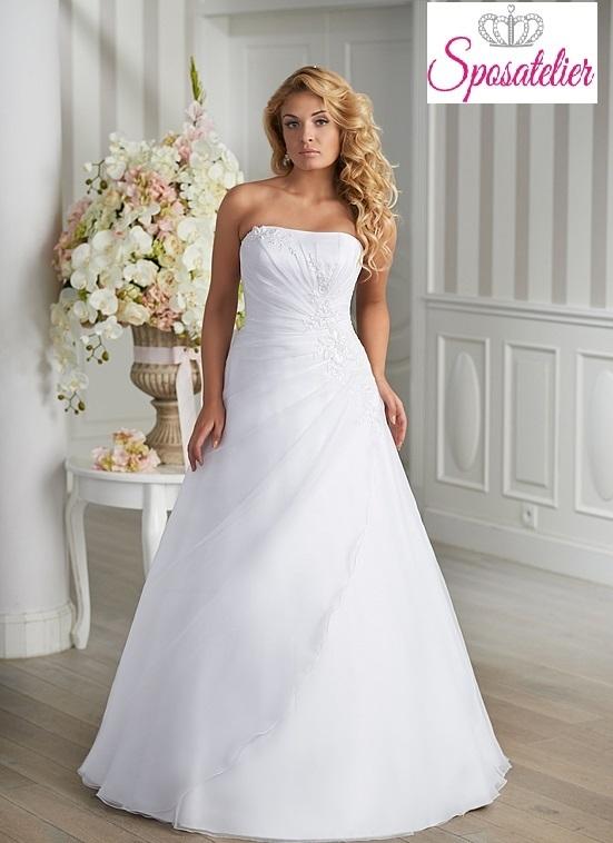 abito da sposa semplice taglie conformate per donna formosa Economico 98a650eb314