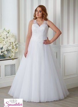 abiti da sposa per taglie comode principesco con bretelle
