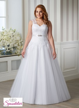 abiti da sposa per taglie comode completo di cintura con strass