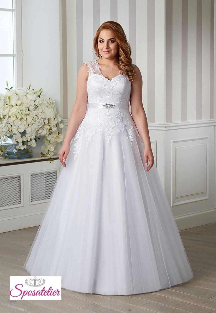 ec048ee5e6a0 abiti da sposa per taglie comode completo di cintura con strass