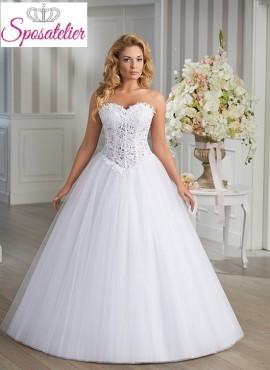 abito da sposa per donna formosa online Economico bustino in pizzo