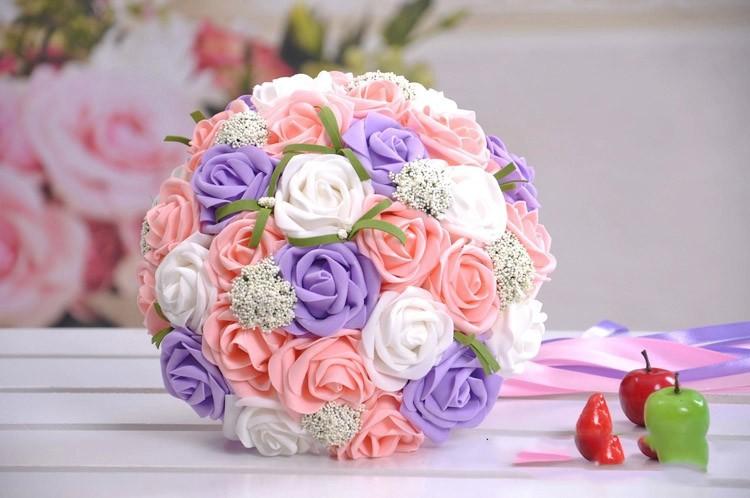 Bouquet Sposa Colorato.Bouquet Sposa Con Fiori Misti Colorati Economico Online 2016