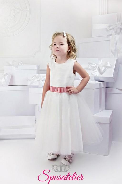 2283cfdd7a6a paola-Abito da damigella d onore bambina principessa Al ginocchio Senza  maniche Raso