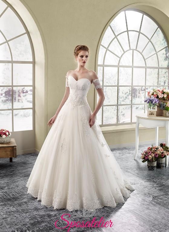 3971e3fc60fd abito da sposa online economico con scollo cuore e maniche corte